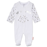 Let it snow, baby onesie and sleeper, white and silver cotton footie, baby snowboarder and baby skier outfit.