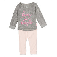 Happy Thoughts infant, toddler and girls melange grey set includes a long sleeve french terry flash dance sweat shirt and pink cotton knit pants.  Both with metallic pink happy thoughts print.  Shirt on front print.  Pants have bum, back print.