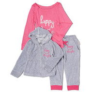 Happy Thoughts, happy infant toddler and girl's long sleeve tee and and velour track suit. Pink and grey girls velour track suit.