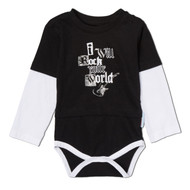 I will rock your world, black baby onesie, screen printed, 100% cotton with three snaps.