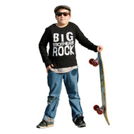 Big Brothers Rock | toddler and kid long sleeve tee | black, white