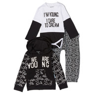 I am young, I dare to dream.  Infant onesie and hooded sweat suit gift set. Black and white cotton.