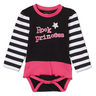 Rock Princess tutu onesie.  Black, pink and white.