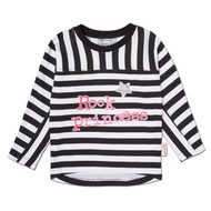 Toddler and Junior girl's bat wing stripped Rock Princess long sleeve tee in black white and pink.