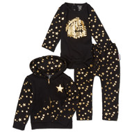The Future is Mine | infant 3 piece set, hooded sweatsuit with l/s onesie | black, metallic gold foil