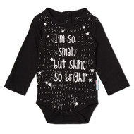 I'm Small but Shine so Bright | infant l/s onesie, black, white