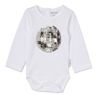 Love You to the Moon and Back | infant l/s onesie, white, silver