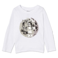 Love You to the Moon and Back |toddler and kids l/s tee, white, silver