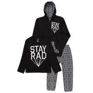 Stay Rad | infant, toddler and kids 3 piece set, hooded sweatsuit with l/s tee | black, white
