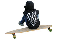 Stay rad baby, toddler and boy's 3 piece set includes ls tee, hooded fleece sweat shirt and pants with gotham city bat web print.