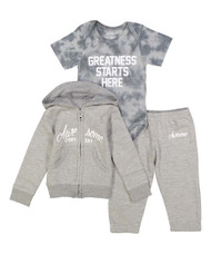 Greatness starts here, infant sweat suit and onesie in grey and white, front view