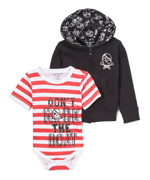 Rock the Boat, baby boys hooded sweat shirt and onesie in black, red and white, front view