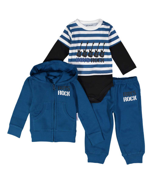 Boys Rock, infant sweat suit and onesie set in cool blue and black, front view