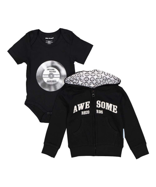 Awesome Records, little but loud, baby boys sweat shirt and onesie set in black and white, front view