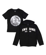 Awesome Records, Little But Loud infant hooded sweat shirt and tee in black with white, front view