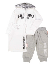 Awesome Records, Little But Loud infant hooded sweat suit and tank set in white and grey, front view
