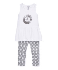 Awesome records, Little BUT LOUD vinyl screen on white infant and toddler girl's dress and record print leggings