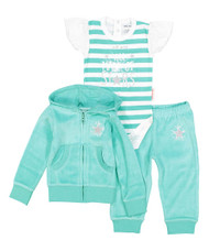 We are all made of starts aqua green and silver baby girl's velour hooded sweat suit and onesie set, front view