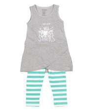 We are All Made of Stars, infant, toddler and girl's sundress and legging set in grey, green and white