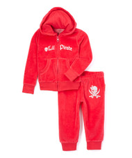 Lil' Pirate baby, toddler and girl's pink velour sweat suit, front view