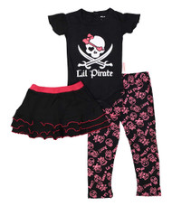 Lil' Pirate, infant onesie, skirt and legging set in pink, black and white
