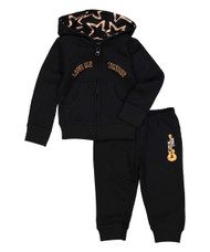 Love Me Tender infant and toddler and kids' hooded sweat suit set, in black with coral, front view
