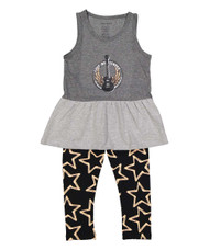 Love Me Tender, infant and toddler tank dress and leggings, grey pink