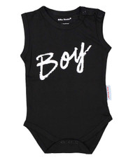 BOY, baby boy black onesie