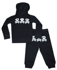 back view: Skull hugs and kisses black hooded 2 piece sweat suit for infant boys, toddler boys and big boys sizes 0 to 12 years.  Also available in bodysuit for baby and long sleeve tee to match and pink and grey for girls.