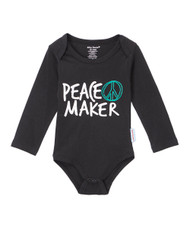 "front view: Peace Maker long sleeve onesie.  Screen printed front ""Peace Maker"" screen printed back "" be the good you want to see in the world"".  Onesie sizes 0-3, 3-6, 6-12, 12-18 and 18-24 months while tee is sizes 2T-12 years."