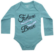 Fortune Favors Brave  Infant Onesie surf blue