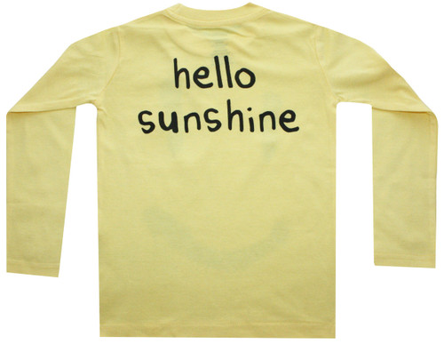 back view: Hello Sunshine sunny yellow smile long sleeve tee.  Unisex toddler and big kids.  Also available in infant union suit.