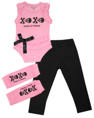 Skull Hugs and kisses infant ruffle bodysuit, arm warmers and leggings.  Also available in toddler and big girls dress set.