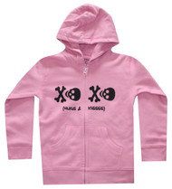 Skull hugs and kisses baby girls, toddler girls and big girls cool hoody