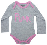 PUNK Infant Onesie pink and grey