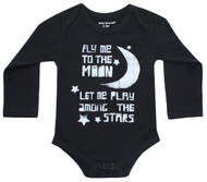 Fly Me to the Moon infant onesie black