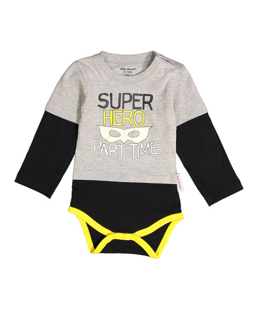part time super hero funny baby boy long sleeve onesie bodysuit