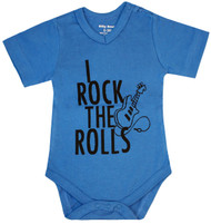I Rock the Rolls, blue boys bodysuit