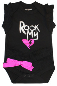Rock my Heart, black and pink girls bodysuit
