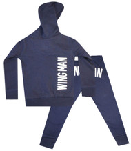 Side Kick, Wing Man, navy and white boys hooded sweat suit