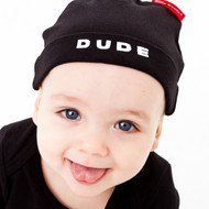 Dude baby hat on model