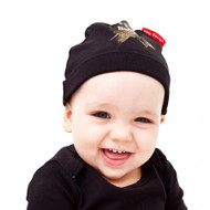 Number One baby hat with gold medal icon modeled by a number one cute baby