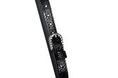 Ladies Patent Leather Bling Stitched Spur Straps with Crystal Buckle.