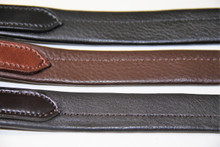 Featured English Leather Colours from top down, Black, Aust Nut and Havana/Dark Brown.