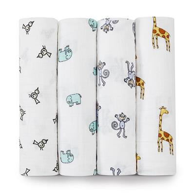 Aden + Anais Jungle Jam Classic Swaddles 4-pack