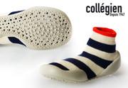 Collegien Slipper Socks Kosmic | White with Thick Blue Stripes