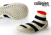 Collegien Slipper Socks Kosmic | White with Thick Blue Stripes