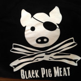 black pig hoodie (pig on the back)