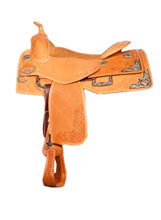 Bob Avila Reiner - B10-0004   This is an eye catching Bob Avila Reiner saddle with Silver and Iron accents. It has Square conchos and 4 corner plates integrating the  square conchos. It also has matching D Rings and is a combination of floral and basket tooled.