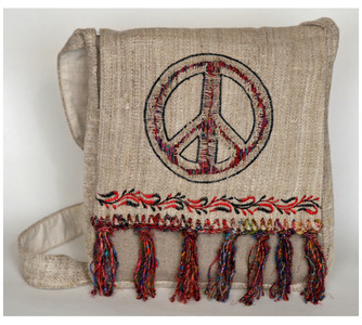 "P6-10  -  Hemp For Peace Hand Bag  Assorted Colors 11"" X 13"